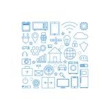 Internet av den linjära symbolsuppsättningen för saker Fotografering för Bildbyråer