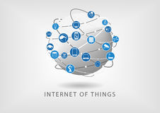 Internet av den moderna förbindelsevärldsillustrationen för saker som symboler i plan design stock illustrationer