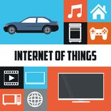 Internet av den smarta sakerteknologikommunikationen stock illustrationer