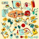 Internet av färgade sakerklotter royaltyfri illustrationer