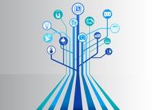 Internet av infographic saker (IOT) och teknologibakgrund för förbindelseapparater vektor illustrationer