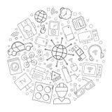 Internet av saker cirklar bakgrund från linjen symbol linjär vektormodell royaltyfri illustrationer
