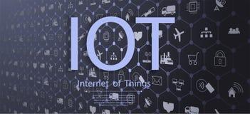 Internet av saker IOT, apparater och uppkopplingsmöjlighetbegrepp på ett nätverk, moln på mitten vektor illustrationer