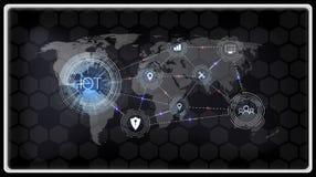 Internet av saker IOT, apparater och uppkopplingsmöjlighetbegrepp på ett nätverk, moln på mitten bräde för digital strömkrets ova royaltyfri illustrationer