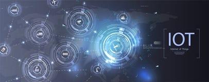 Internet av saker IoT och knyta kontaktbegreppet stock illustrationer