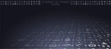 Internet av saker IoT och nätverkandebegreppet för förbindelseapparater stock illustrationer