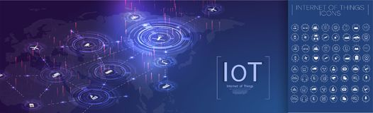 Internet av saker IoT och n?tverkande vektor illustrationer