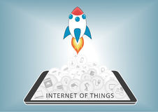 Internet av saker (IoT) tar av royaltyfri illustrationer