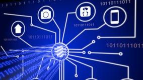 Internet av saker med den blåa dataströmmen Arkivfoton