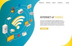 Internet av saker som landar mallen för sidawebsitevektor royaltyfri illustrationer
