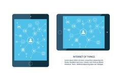 Internet av sakerbegreppet Den mobila minnestavlan och ilar hem- apparatsymboler Konsument och förbindelseapparater stock illustrationer
