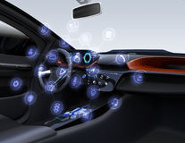 Internet av sakerbegreppet för bilar royaltyfri illustrationer