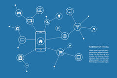 Internet av sakerbegreppet med den smarta telefonen och vita symboler vektor illustrationer