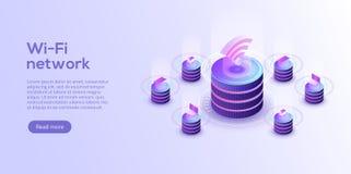 Internet av sakerorienteringen IOT-online-synkronisering och connec stock illustrationer