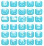 Internet azul de los iconos Imágenes de archivo libres de regalías