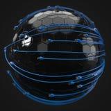 Internet azul telegrafía el recubrimiento de la esfera de alta tecnología el ejemplo conceptual 3d del cable de Ethernet y rj-45  Imagenes de archivo