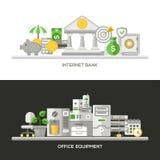Internet Bank, Office Equipment Flat Design Concept Banners, Headers Set. Internet Bank, Office Equipment concepts compositions set. Vector modern line flat Vector Illustration