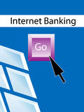 Internet banking. Arrow clicking to internet banking Royalty Free Stock Photography