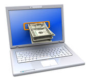 Internet banking. 3d illustration of laptop computer with money inside screen Stock Photo