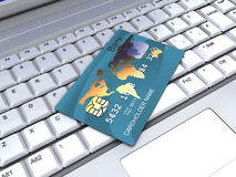 Internet banking. 3d illustration of plastic card and computer keyboard, internet banking concept Stock Photography