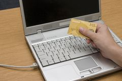 Internet banking #2. Credit card in front of computer royalty free stock images