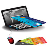 Internet banking. Abstract colorful illustration with a credit card entering through a laptop's screen. Internet banking theme Stock Photo