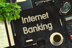 Internet Banking Concept on Black Chalkboard. 3D Rendering. Royalty Free Stock Image
