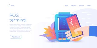Internet banking concept in flat vector design. Digital payment or online money transfer service. POS pay with smartphone digital vector illustration