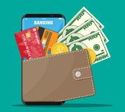 Internet banking concept. Modern smartphone with wallet, bank credit card, dollar banknote and golden coin. Internet banking concept, money exchange and transfer Royalty Free Stock Photos