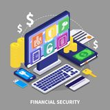 Financial Security Illustration. Internet banking and financial security concept with various electronic devices coins and credit card 3d isometric vector Royalty Free Stock Image