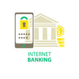 Internet banking icon. Isolated on white Stock Images