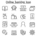 Internet banking icon set in thin line style. Vector illustration graphic design Stock Photo