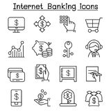 Internet banking icon set in thin line style. Vector illustration graphic design Royalty Free Stock Image