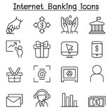 Internet banking icon set in thin line style. Vector illustration graphic design Royalty Free Stock Photography
