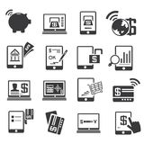 Internet banking icons. Set of 16 internet banking icons Royalty Free Stock Photos