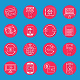 Internet Banking Icons. Set in flat style Stock Photo