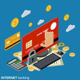 Internet banking, money transfer, financial transaction vector concept. Internet banking, money transfer, financial transaction flat 3d isometric vector concept Royalty Free Stock Images