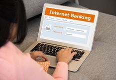 Internet banking. Network. Businessmen Use Laptop Computers to Log into Online Payment stock image