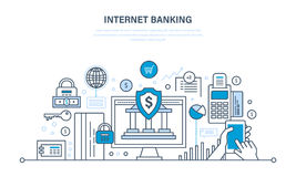 Internet banking, payment security, finance, cash deposits, purchases, money transfers. Internet banking, protection, guarantee payment security, finance, cash Stock Photography