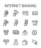 Internet banking related vector icon set. Well-crafted sign in thin line style with editable stroke. Vector symbols isolated on a white background. Simple Royalty Free Stock Photo