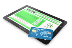 Internet banking service. Tablet PC and credit card Stock Photos