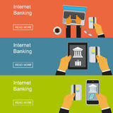 Internet banking. Vector illustration in flat design for web sites, Infographic design. Stock Photo