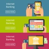 Internet-bankwezen die, online kopen en Royalty-vrije Stock Foto's