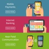 Internet-bankwezen, mobiele betalingen en nfc Royalty-vrije Stock Afbeelding