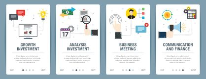 Internet banner set of investment, business and finance icons royalty free stock photos