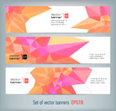 Internet banners set with polygonal abstract back Stock Photography