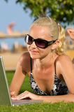 Internet on the beach. Royalty Free Stock Photo