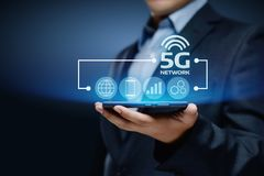 Internet-bewegliches drahtloses Geschäftskonzept des Netz-5G Stockbilder