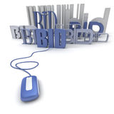Internet bid. 3D rendering of the word BID connected to a computer mouse Stock Image