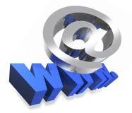 Internet bij en www teken Stock Afbeeldingen